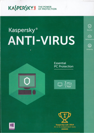 Kaspersky Anti-Virus 2016 3 PCS 1 Year Key Card Software Antivirus - DD652687