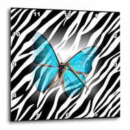 3DROSE Dpp 38928 1 Turquoise Butterfly On Zebra Wall Clock 10 By 10 - DD654722