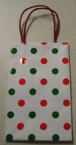 Case Of 54 Spiritz Red And Green Polka Dot Gift Bags Multi-Color Small - EE662457