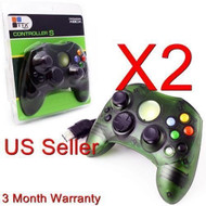 2 Lot Green Controller Control Pad For Original Microsoft Xbox X Box - ZZ663532