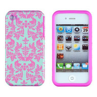 Dandycase 2IN1 Hybrid High Impact Hard Sea Green Flower Pattern Pink - DD666749