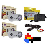 SNES Bundle 2 Controllers AC Adapter Power Cord & AV Cable Super - ZZ667627