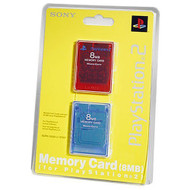 Sony OEM Memory Card 8MB 2 Pack Red / Blue For PlayStation 2 PS2 - EE667924