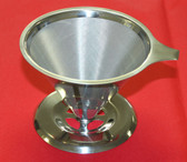 Stainless Steel Pour Over Cone Dripper Reusable Coffee Filter w Cup Stand