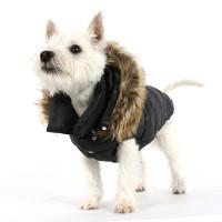 Puppy Angel Love Down Hood Detachable Fur Trim High Vest (Regular, Zip-up)