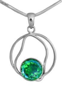 Necklace blue green quartz gemstone silver