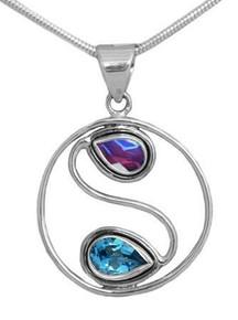 Blue Topaz, purple, Lavender ,Rose Quartz  Yang Pendant , silver