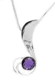 purple amethyst silver necklace