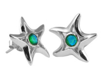gemstone, Starfish, Studs,silver, earrings, green