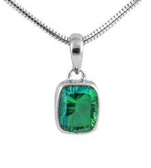 sterling silver, pendant, necklace, emerald, rectangle