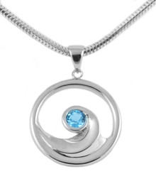 sterling silver, ocean wave, blue topaz, pendant, necklace