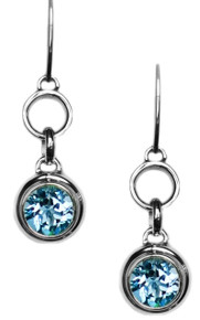 Blue,Topaz, sterling silver, earrings, gemstone, round,