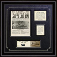 100th Anniversary - Titanic Framed Art and Artifact
