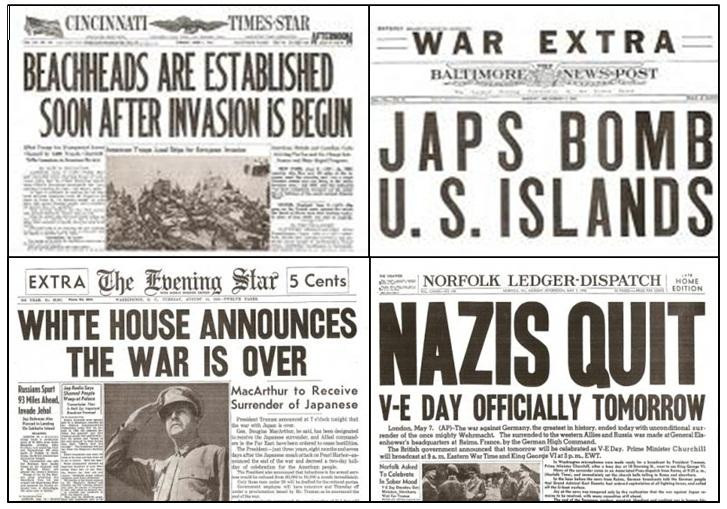 Newspapers Headlines before, during, and after World War II ...
