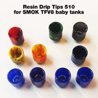 Replacement Resin Drip Tip. Will fit most 510 tank tops - for example SMOK TFV8 baby tank, etc