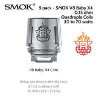 5 pack - SMOK V8 Baby X4 quad coil atomisers 0.15 ohm. 100% Organic Japanese cotton wicks for a purer taste.