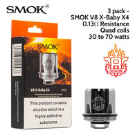 3 pack - SMOK V8 X-Baby X4 quad coil atomisers 0.13 ohm. 30 to 70 watts. Japanese organic cotton wick. Fits the Smok X-Baby vape tank.