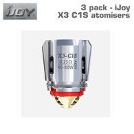 Pack of 3 iJoy X3 C1S atomisers 0.35 ohm, 40 to 80 watts. Cotton and wood pulp wicking material.