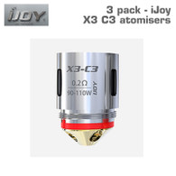 Pack of 3 iJoy X3 C3 sextuple atomisers 0.2 ohm, 90 to 110 watts. Cotton and wood pulp wicking material.