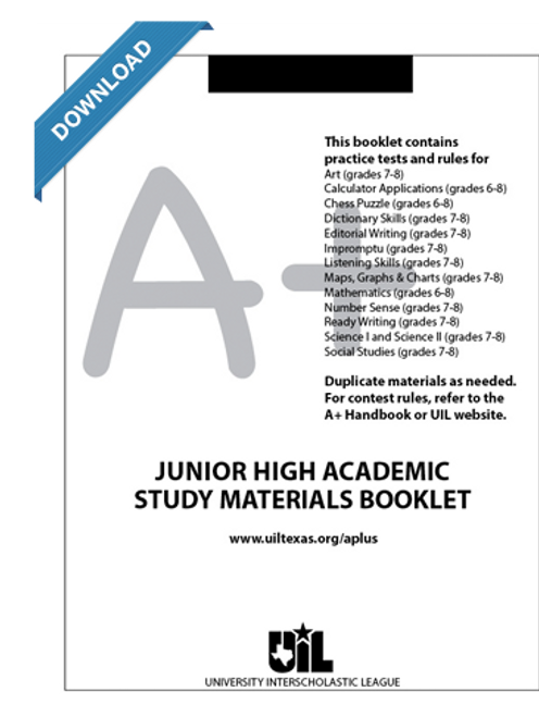Junior High Academic Study Materials Booklet for grades 7-8