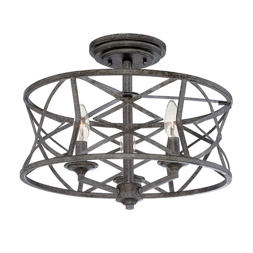 Millennium Lighting 2173-AS Lakewood Semi Flushmount in Antique Silver