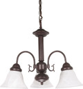 "NUVO Lighting 60/184 Ballerina 3 Light 20"" Chandelier with Alabaster Glass Bell Shades"