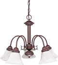 """NUVO Lighting 60/183 Ballerina 5 Light 24"""" Chandelier with Alabaster Glass Bell Shades"""