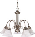 """NUVO Lighting 60/181 Ballerina 5 Light 24"""" Chandelier with Alabaster Glass Bell Shades"""