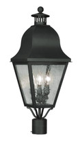 LIVEX Lighting 2556-04 Amwell Outdoor Post Lantern in Black (3 Light)