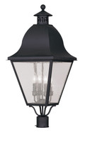 LIVEX Lighting 2548-04 Amwell Outdoor Post Lantern in Black (4 Light)