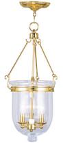 LIVEX Lighting 5064-02 Jefferson Chain Lantern in Polished Brass (3 Light)