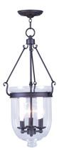 LIVEX Lighting 5064-07 Jefferson Chain Lantern in Bronze (3 Light)