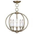 LIVEX Lighting 4665-01 Milania Convertible Chain Lantern/Flushmount in Antique Brass (5 Light)