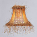 LIVEX Lighting S109 Gold Panel Silk Bell Clip Shade with Corn Silk Fringe