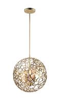 Zeev Lighting P30038/3/SG Helios 3 Light Pendant in Satin Gold