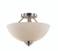 "Mod Pod 13.5"" Indoor Rubbed Oil Bronze Modern Semiflush with White Frost Glass Shades"