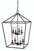 "Lacey 19"" Indoor Rubbed Oil Bronze Colonial Pendant with Open Birdcage Style Shade"