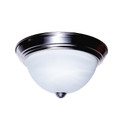 """Browns 11"""" Indoor Brushed Nickel Traditional Flushmount with Frosted White Shade"""