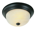 """Browns 13"""" Indoor Rubbed Oil Bronze Traditional Flushmount with Frosted White Shade"""