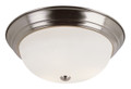 """Bowers 13"""" Indoor Brushed Nickel Traditional Flushmount with Minimalist Design and White Frost Shade"""