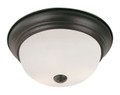 """Bowers 13"""" Indoor Rubbed Oil Bronze Traditional Flushmount with Minimalist Design and White Frost Shade"""