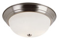 """Bowers 15"""" Indoor Brushed Nickel Traditional Flushmount with Minimalist Design and White Frost Shade"""