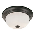 """Bowers 15"""" Indoor Rubbed Oil Bronze Traditional Flushmount with Minimalist Design and White Frost Shade"""