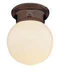 """Dash 6"""" Indoor Rubbed Oil Bronze Traditional Flushmount with Opal Glass Globe Shade"""