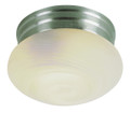 """Dash 8"""" Indoor Brushed Nickel Traditional Flushmount with Opal Glass Globe Shade"""