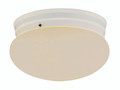 "Dash 8"" Indoor White Traditional Flushmount with Opal Glass Globe Shade"