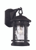 "12.5"" Outdoor Black Nautical Wall Lantern with Decorative Hook Ring Accent"