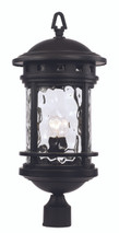 "23.5"" Outdoor Black Nautical Postmount Lantern with Decorative Hook Ring Accent"