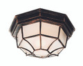 "Benkert 4"" Outdoor Black Copper Rustic Flushmount Lantern  with Black Rustic Octagonal Metal Frame"