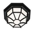 """Benkert 4"""" Outdoor Black Rustic Flushmount Lantern with Black Rustic Octagonal Metal Frame"""